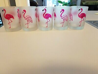 """Set (5) Pink Flamingo Frosted 4 1/8"""" Glass Tumblers/ Glasses by Culver Brand New"""