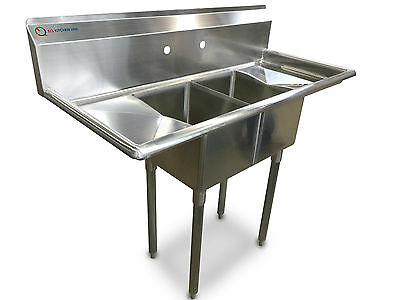 "EQ  2 Compartment Commercial Kitchen Sink Stainless Steel 19.5""x43.75""x48"""