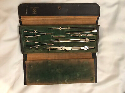 Antique Vintage Schoenner Drafting Tools  Set in Leather Case Germany