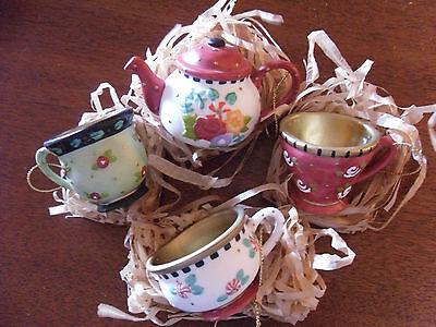 """Mary Engelbreit  """"CHRISTMAS SPICE""""  TEA CUP ORNAMENTS NIB"""
