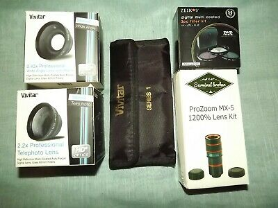 VIVITAR, ZEIKS & SURVIVAL BROKER LOT OF DIFFERENT CAMERA LENSES NEW see details