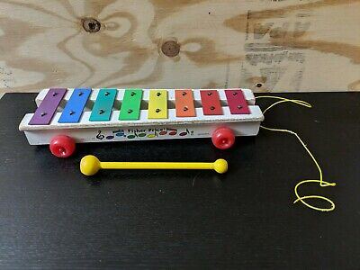 Vintage 1978 Fisher-Price Xylophone Musical Pull-a-Tune Toy #870