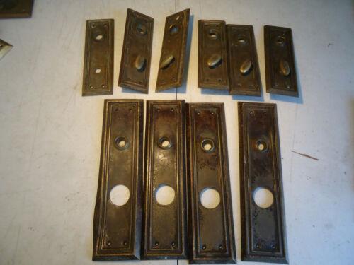 Vintage Door Knob back plate 10 pc lot  handle / latch  Brass / steel backplates
