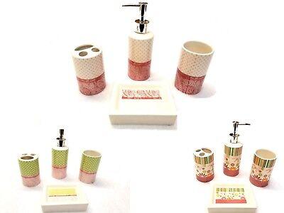 4 Piece Ceramic Girls Bathroom Accessory Set Soap Dish Toothbrush holder Tumbler ()