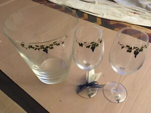 Hand painted wine glasses and glass bucket