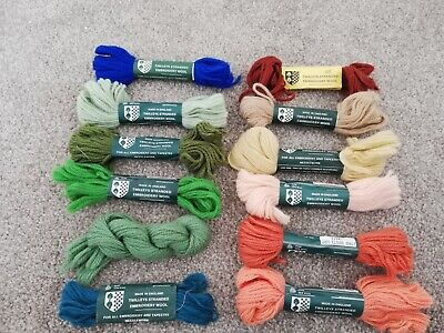 Vintage Twilleys Stranded Embroidery Tapestry Wool, x 12 in various shades