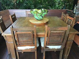 Solid timber 8 seater dining table and 8 timber chairs Manly Brisbane South East Preview