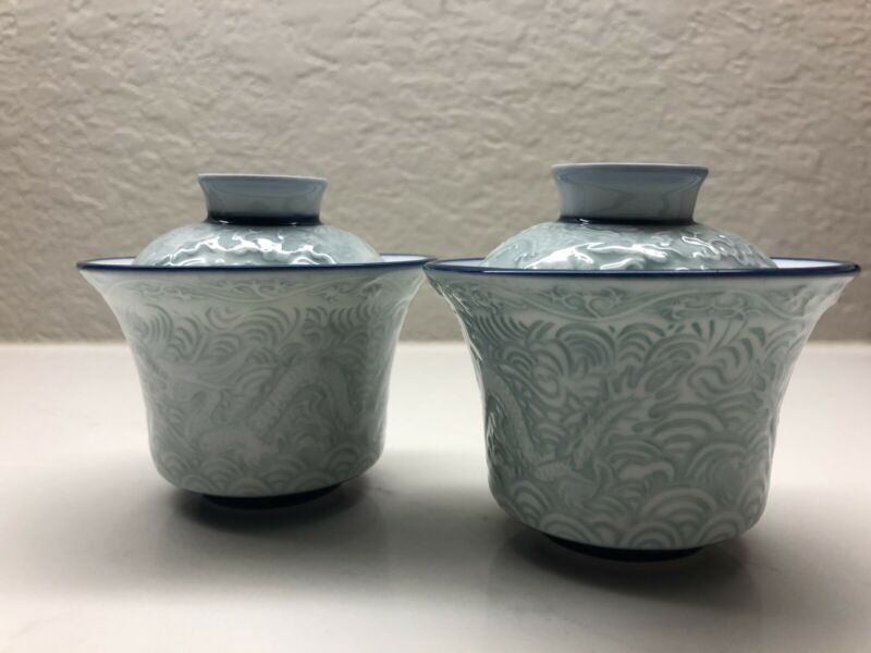 Vintage  Chinese Porcelain  Celadon Tea Cup with Lid set of Two Vintage