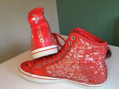 Adidas High Tops Trainers Ladies Red Sequin SIZE 5