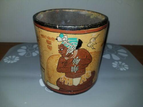 Vintage Maya Hand Painted Clay Pottery Vase Pot Mayan