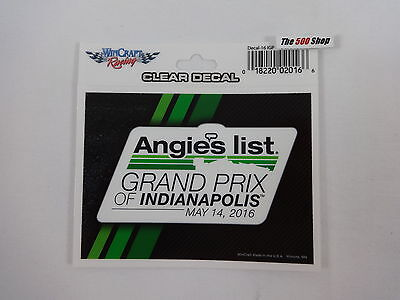 2016 Angies List Grand Prix Of Indianapolis Event Collector Decal New Indy