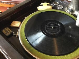 Antique Gramaphone, with approximately 35 vintage records