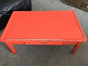 Antique metal top coffee table