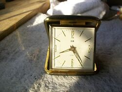 Vintage Elgin Travel Alarm Clock Wind Up with Luminous Hands in Black Case WORKS