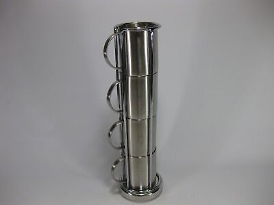 Torre and Tagus Stainless Steel Double Wall Mugs 8oz Set of 4 w/ Stand