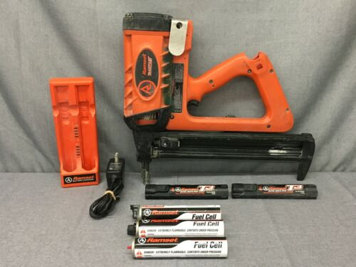 RAMSET TF1200 TRAKFAST FASTENER NAIL GUN with 2X BATTERY, CHARGER, 3X CYLINDER-