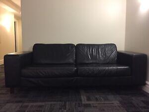 EQ black leather sofa - 7 feet