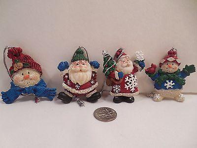 Set 4 Small Resin Figurine Christmas Ornaments ~ 2 Snowmen 2 Santa ~ 1 3/4