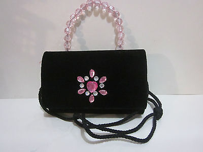 Small Black Velvet Purse, Pink Glass Design on Flap, Bead Handle, Lined, (Designer Glasses On Line)