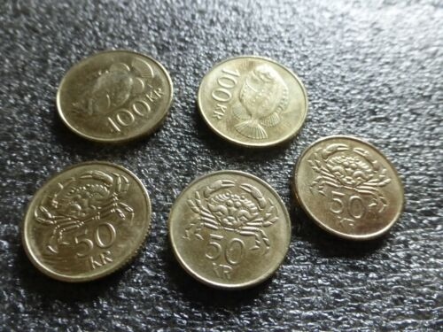 ICELAND ICELANDIC COINS 350 ISK VALUE IN COINS 5 COINS TOTAL