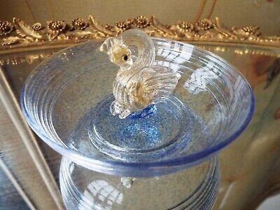 Glass Italian Ring (VINTAGE SALVIATI VENETIAN MURANO ITALIAN ART GLASS W/GOLD FOIL SWAN RING DISH )