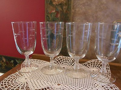 Lot set of 4 Elegant Crystal Glass Etched Iced Tea Beverage Glasses Stems Goblet