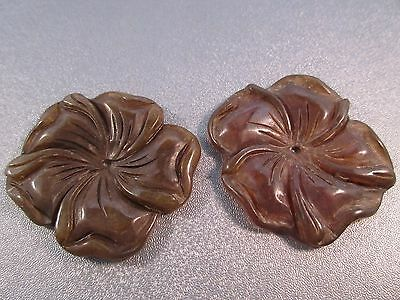 Nephrite Jade Carved Flower Pendant 2pcs for sale  Shipping to India