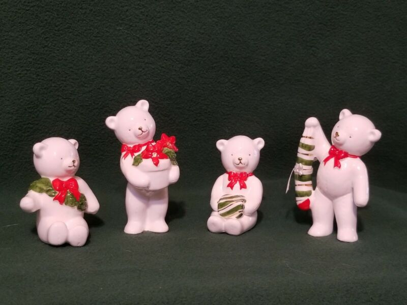 Schmid Christmas Bone China Bears Vintage Christmas Quartet