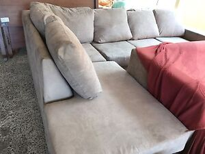 Beige suede Corner Lounge chaise Plumpton Blacktown Area Preview