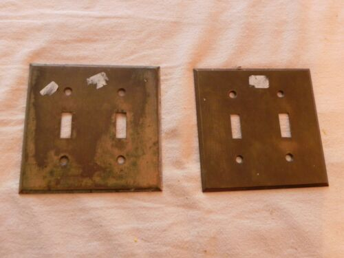 Vintage Double Light Switch Cover, Brass, 2 Switch Gang, Set of 2