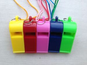 SPORTS-WHISTLE-FOOTBALL-RUGBY-HOCKEY-REFEREE-PLASTIC-5-COLOURS-NECK-WRIST-CORD