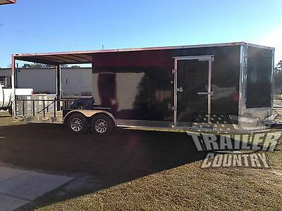 New 2019 8.5x24 8.5 X 24 V Nose Enclosed Cargo Utility Hybrid Porch Trailer