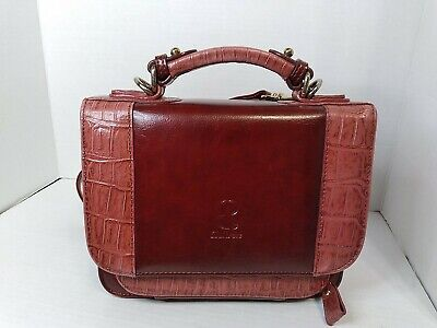 Bellerose leather women Handbag purse Wine Rose Sectional