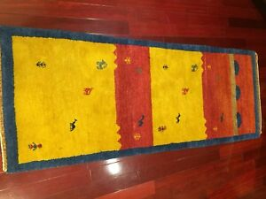 Hand knotted all wool gabbeh rug , 80X200cm