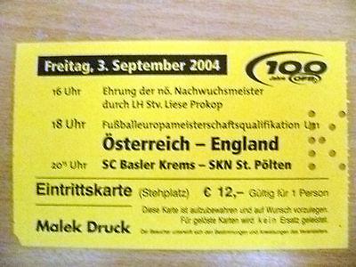 Ticket- 2004 OSTERREICH v ENGLAND, 3 September 2004