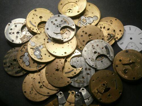 HUGE Antique ELGIN 18s Pocket Watch Movement - Railroad Private Label Parts LOT