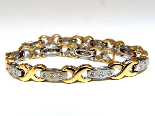 1.15 Carat Modern Diamond X Link Bracelet 14 Karat Two-toned