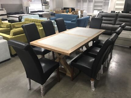 Billabong Cottage Dining Table With Concrete Insert 8 Chairs