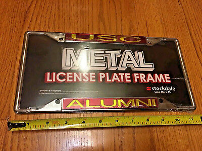 USC Trojans Chrome Metal License Plate Frame Car Garage Decor Brand NEW - Usc Decorations