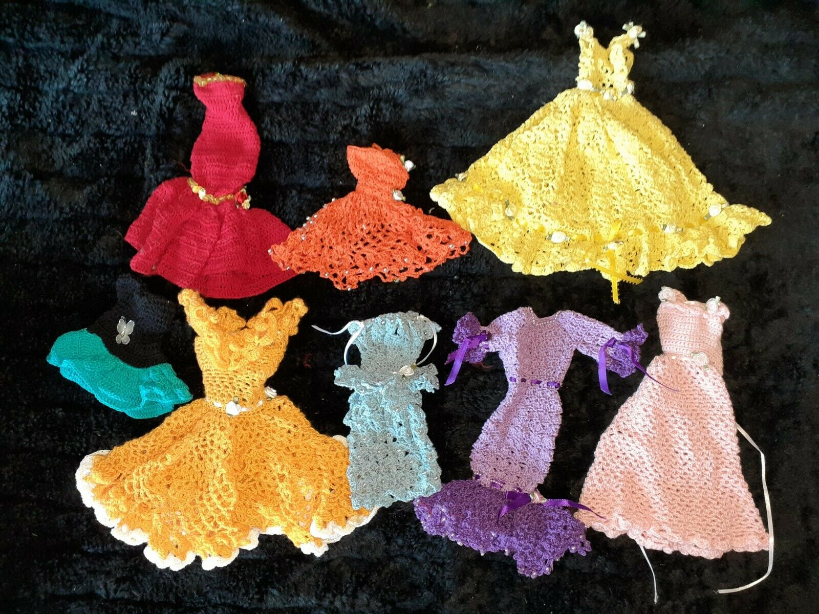 8 Beautiful Handmade Crocheted Barbie Doll Dresses/clothes - $49.99