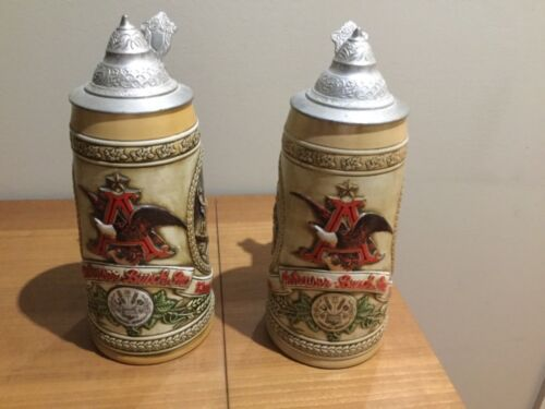 "TWO VINTAGE ANHEUSER BUSCH BUDWEISER BEER STEIN ""A"" AND ""C"" SERIES"