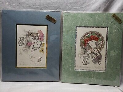 2 Hand Glitted And Artists Signed Mardi Gras Pictures 1998 1999