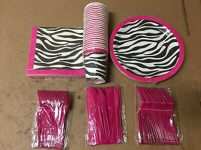 Pink Zebra Party Supplies – Serves 24 – Includes Plates, Knives, Spoons, Forks,  - Pink Zebra Party Supplies