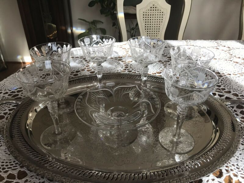 MOSQUE  ROSE -6 ETCHED CUT CRYSTAL CHAMPAGNE/ WINE GLASSES W/ Strawberry DISH