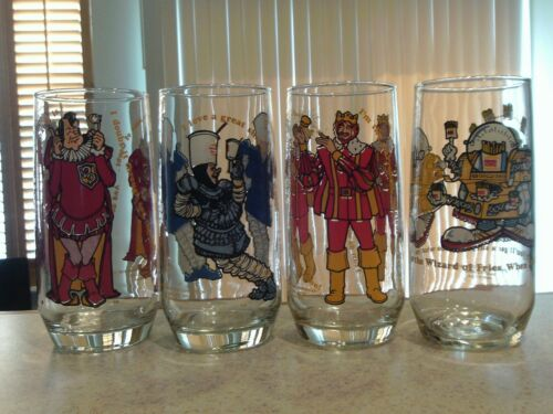 Lot of 4 of the 5 vintage 1979 Burger King glasses in mint condition