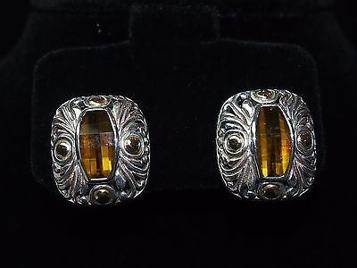 Antique design sterling silver earrings with 18 kt gold and citrine lite stone