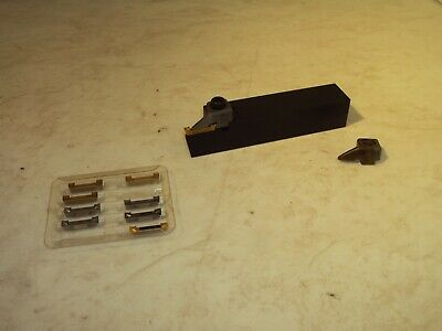 Manchester 236-101 Grooving Tool Holder W 9 Assorted Dog Bone Carbide Inserts