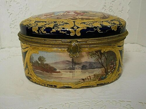 ANTIQUE  COBALT BLUE DOMED CASKET JEWELRY TRINKET BOX PORCELAIN