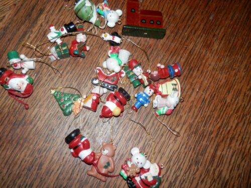 Vintage Lot of Mini Wooden Christmas Tree Ornaments 24 Pieces