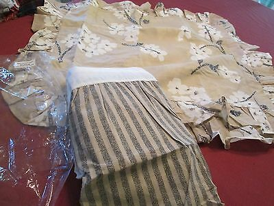 3 PCS QUEEN BED SET TWO SHAMS EURO SKIRT NEW IN PKG TAN W WHITE APPLE BLOSSOMS
